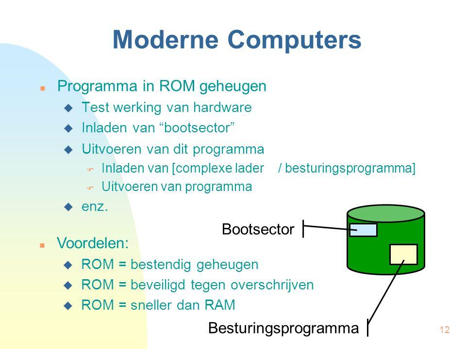 12 Moderne Computers Programma in ROM geheugen  Test werking van hardware  Inladen van bootsector Bootsector Voordelen:  ROM = bestendig geheugen  ROM = beveiligd tegen overschrijven  ROM = sneller dan RAM  Uitvoeren van dit programma  Inladen van [complexe lader / besturingsprogramma]  Uitvoeren van programma Besturingsprogramma  enz.