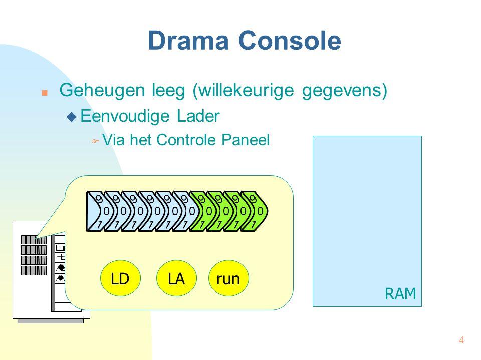 4 Drama Console Geheugen leeg (willekeurige gegevens)  Eenvoudige Lader  Via het Controle Paneel RAM 9 1 0 9 1 0 9 1 0 9 1 0 9 0 1 9 0 1 9 0 1 9 0 1 9 0 1 9 0 1 LDLArun
