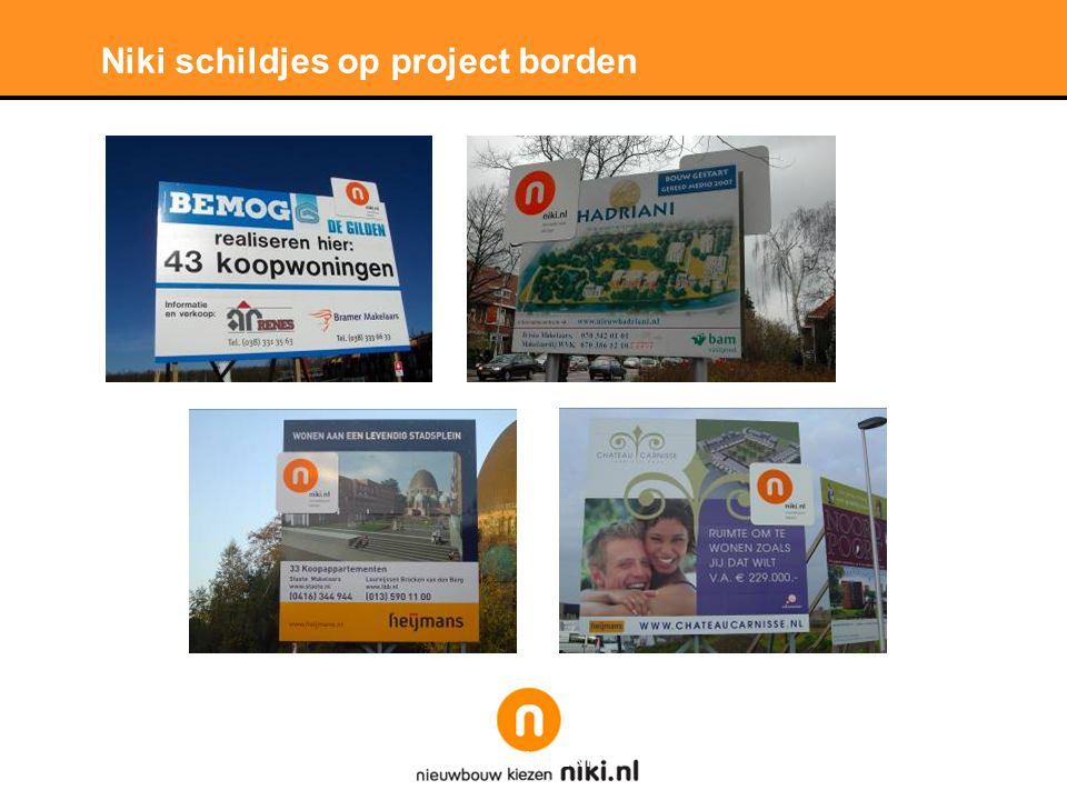 Stichting LNP Niki logo bordjes op panelen stand BAM Vastgoed