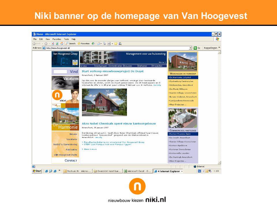 Niki banner op de homepage van Van Hoogevest