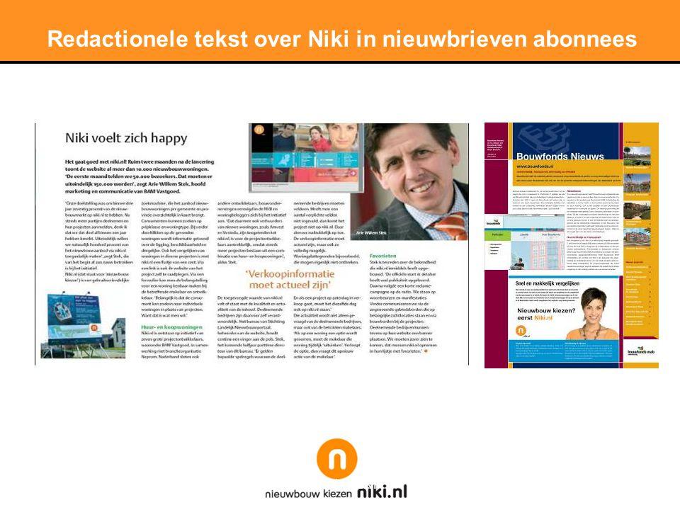 Stichting LNP Redactionele tekst over Niki in nieuwbrieven abonnees
