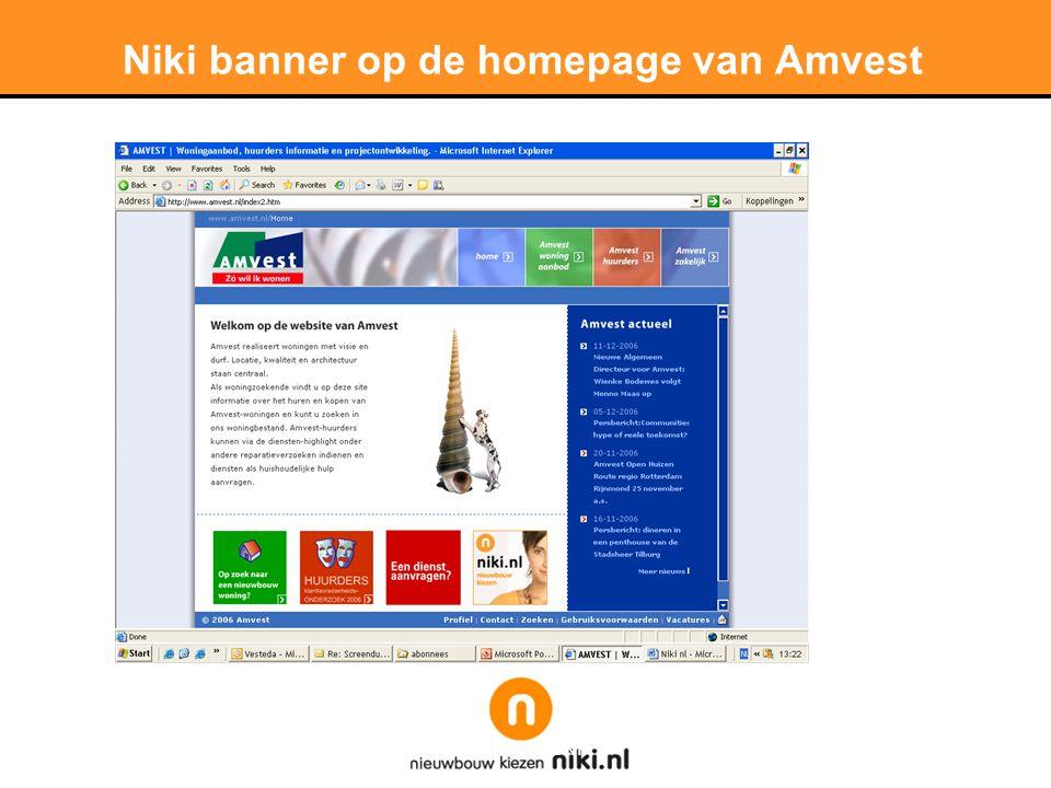Niki banner op de homepage van Amvest