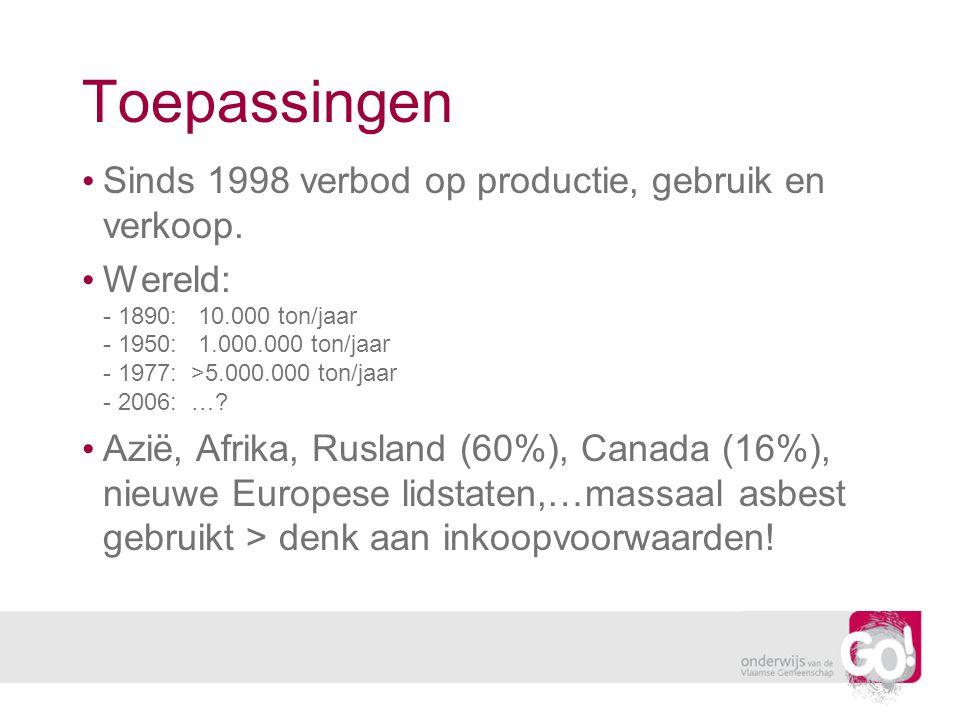 Toepassingen Sinds 1998 verbod op productie, gebruik en verkoop. Wereld: - 1890: 10.000 ton/jaar - 1950: 1.000.000 ton/jaar - 1977: >5.000.000 ton/jaa