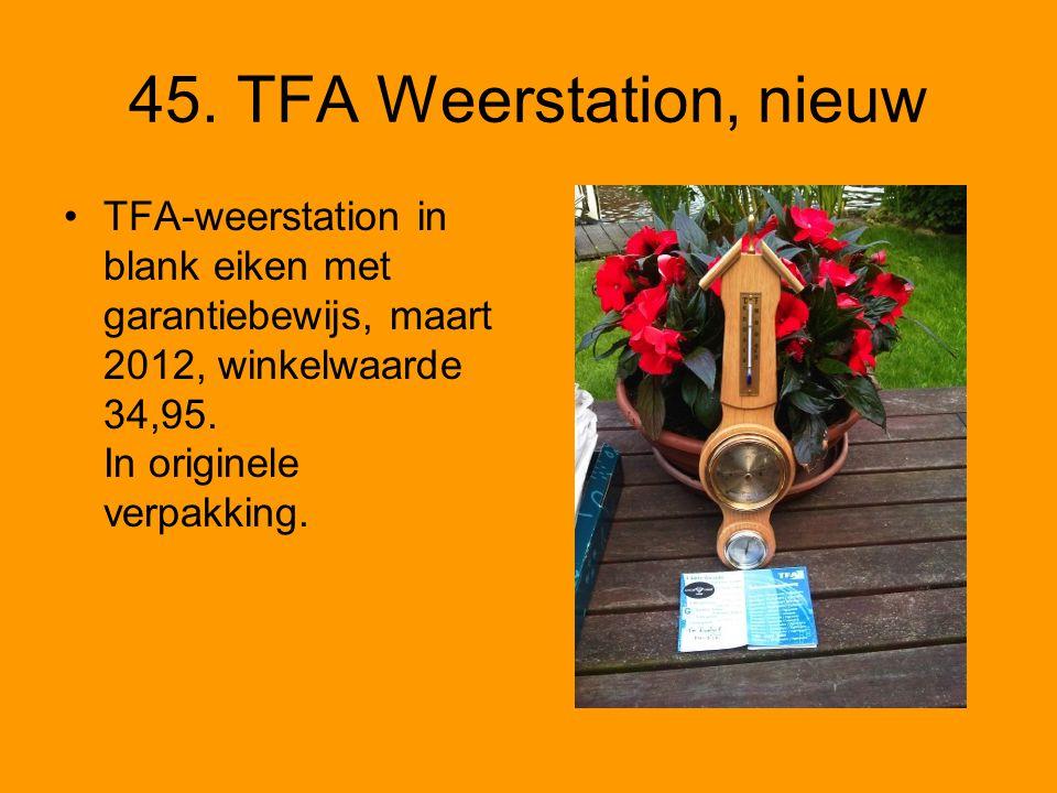 45. TFA Weerstation, nieuw TFA-weerstation in blank eiken met garantiebewijs, maart 2012, winkelwaarde 34,95. In originele verpakking.