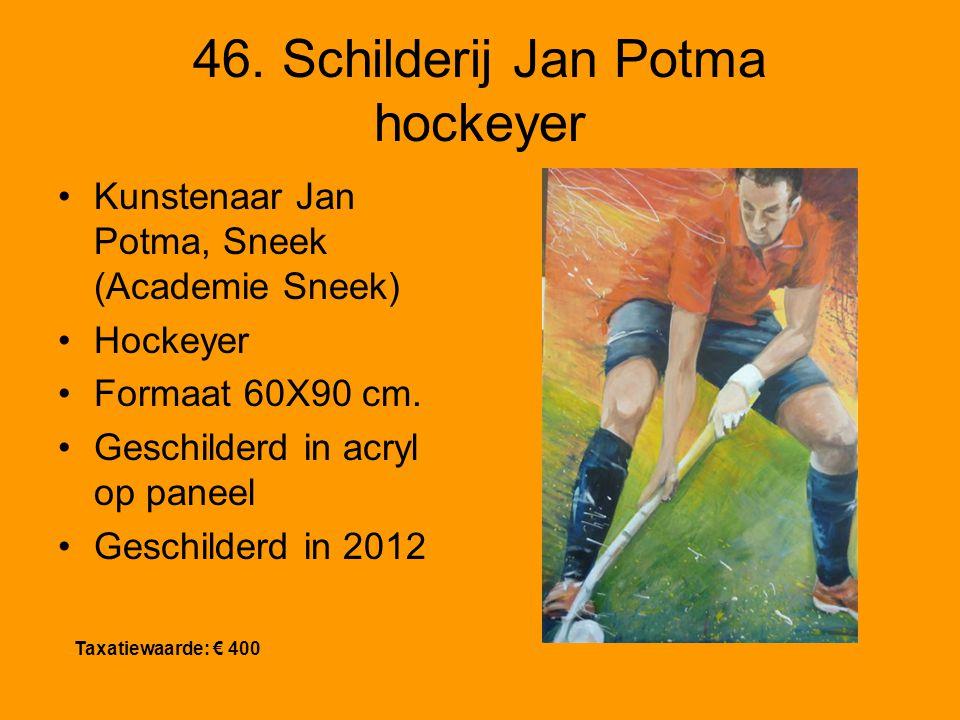 46. Schilderij Jan Potma hockeyer Kunstenaar Jan Potma, Sneek (Academie Sneek) Hockeyer Formaat 60X90 cm. Geschilderd in acryl op paneel Geschilderd i