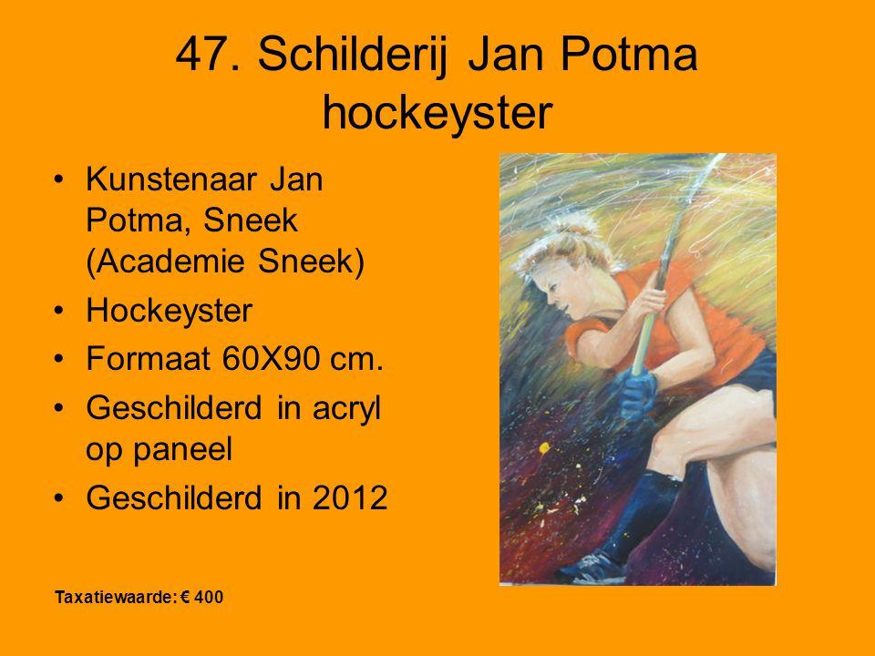 47. Schilderij Jan Potma hockeyster Kunstenaar Jan Potma, Sneek (Academie Sneek) Hockeyster Formaat 60X90 cm. Geschilderd in acryl op paneel Geschilde