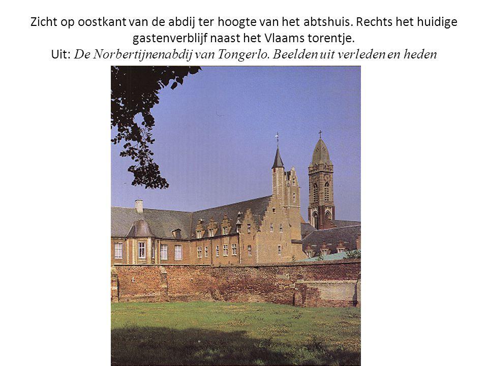 Zicht op oostkant van de abdij ter hoogte van het abtshuis. Rechts het huidige gastenverblijf naast het Vlaams torentje. Uit: De Norbertijnenabdij van