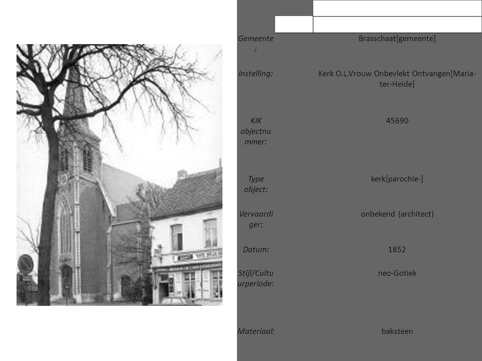 Gemeente : Brasschaat[gemeente] Instelling: Kerk O.L.Vrouw Onbevlekt Ontvangen[Maria- ter-Heide] KIK objectnu mmer: 45690 Type object: kerk[parochie-]