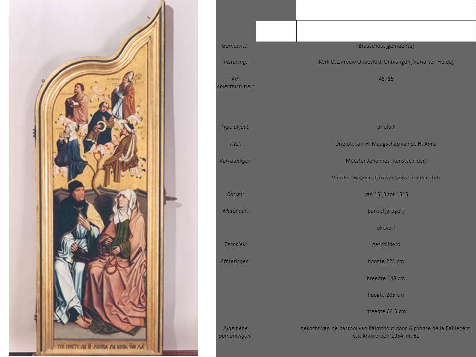 Gemeente: Brasschaat[gemeente] Instelling: Kerk O.L.Vrouw Onbevlekt Ontvangen[Maria-ter-Heide] KIK objectnummer: 45715 Type object: drieluik Titel: Dr