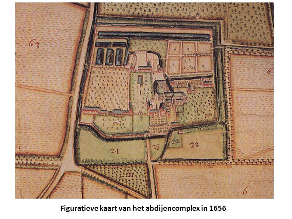 Figuratieve kaart van het abdijencomplex in 1656