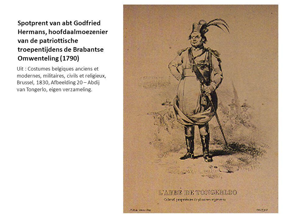 Spotprent van abt Godfried Hermans, hoofdaalmoezenier van de patriottische troepentijdens de Brabantse Omwenteling (1790) Uit : Costumes belgiques anc