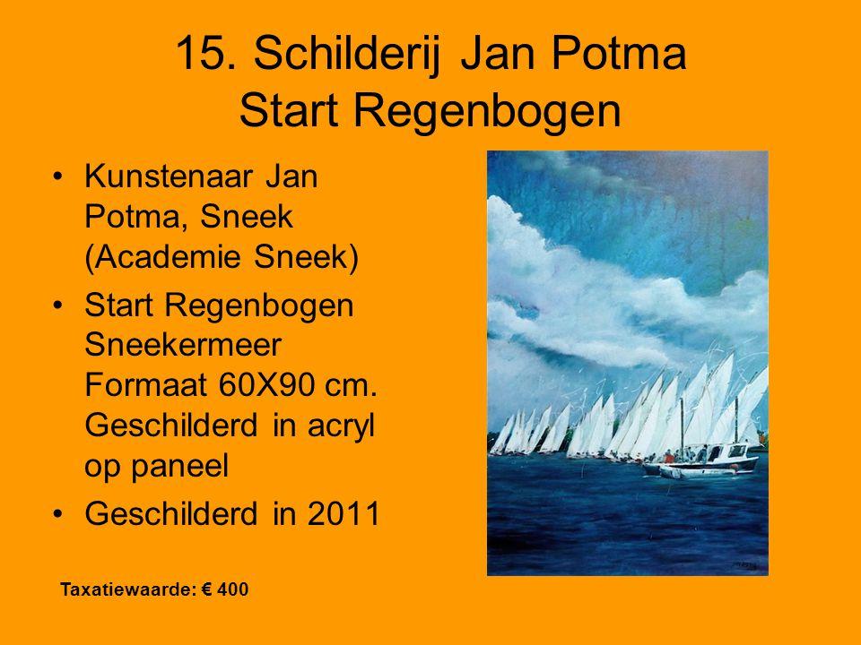 15. Schilderij Jan Potma Start Regenbogen Kunstenaar Jan Potma, Sneek (Academie Sneek) Start Regenbogen Sneekermeer Formaat 60X90 cm. Geschilderd in a