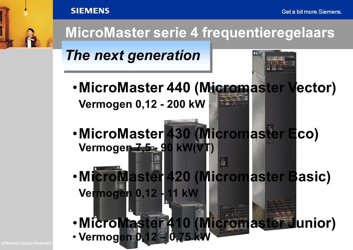  Siemens Groep in Nederland Get a bit more.Siemens. MicroMaster 440 (Micromaster Vector) Vermogen 0,12 - 200 kW MicroMaster 430 (Micromaster Eco) Ver