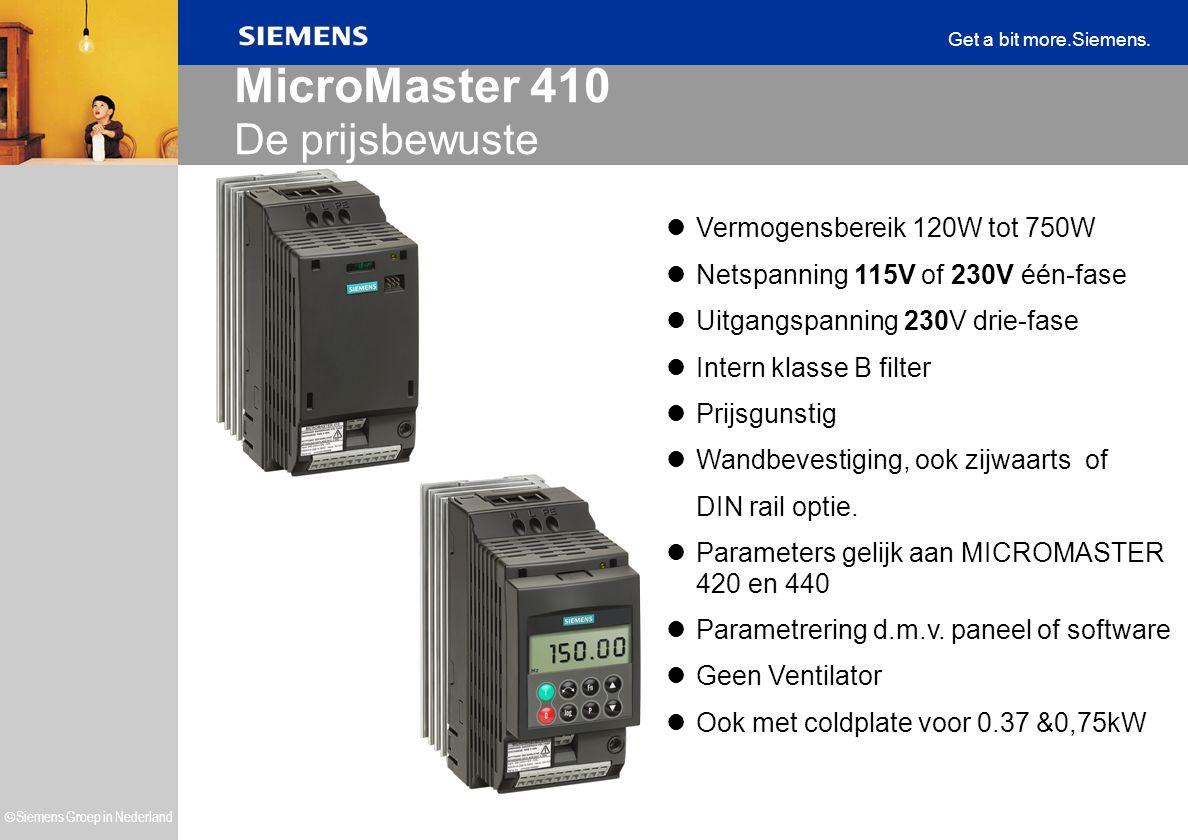  Siemens Groep in Nederland Get a bit more.Siemens. MicroMaster 410 De prijsbewuste Vermogensbereik 120W tot 750W Netspanning 115V of 230V één-fase U