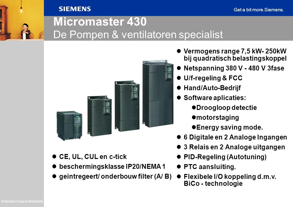  Siemens Groep in Nederland Get a bit more.Siemens. Micromaster 430 De Pompen & ventilatoren specialist CE, UL, CUL en c-tick beschermingsklasse IP20