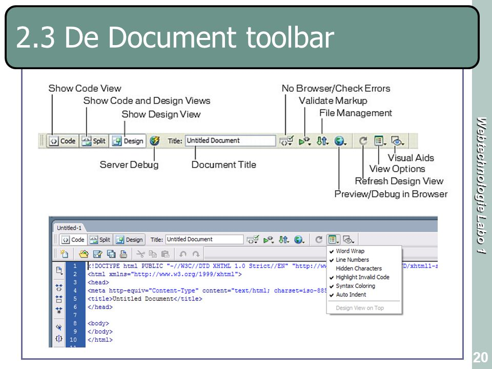 Webtechnologie Labo 1 20 2.3 De Document toolbar