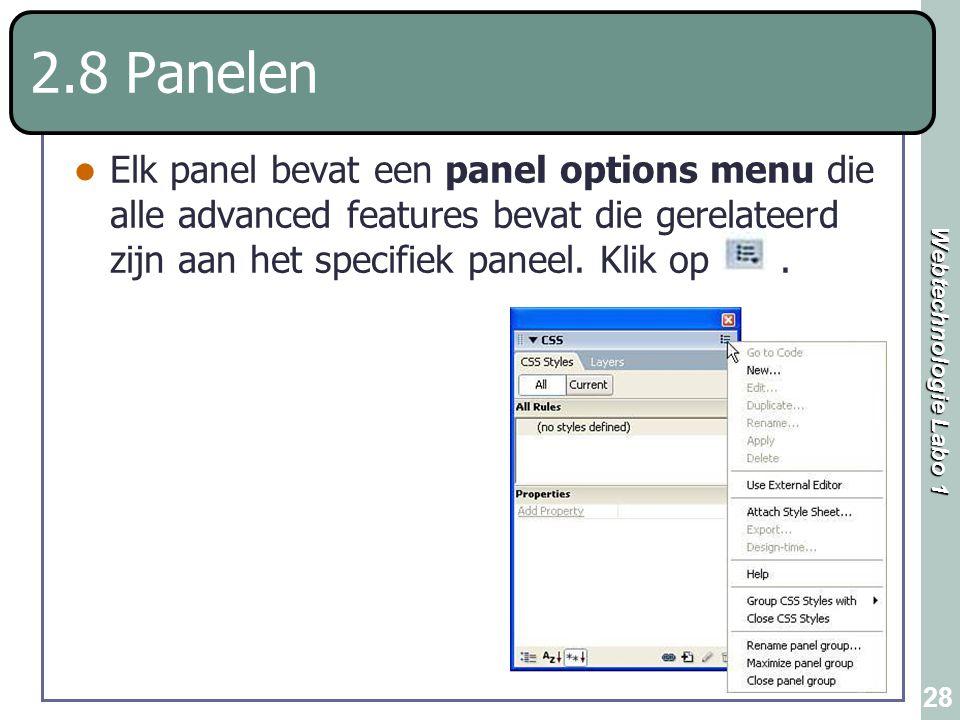 Webtechnologie Labo 1 28 2.8 Panelen Elk panel bevat een panel options menu die alle advanced features bevat die gerelateerd zijn aan het specifiek pa