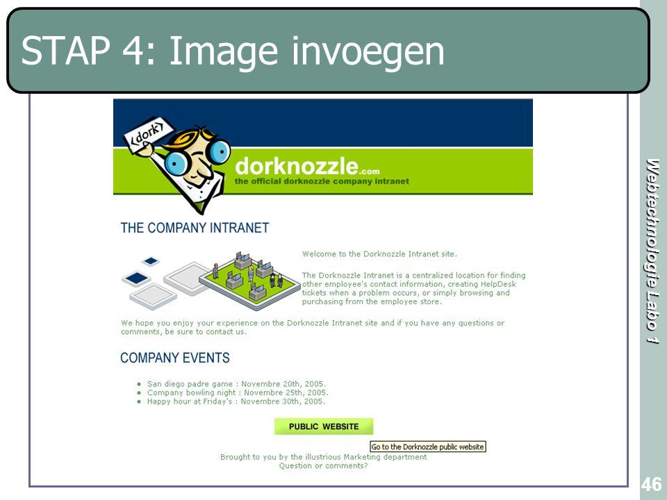 Webtechnologie Labo 1 46 STAP 4: Image invoegen