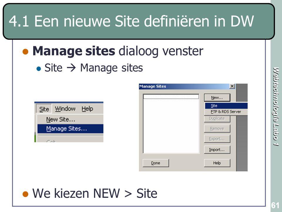 Webtechnologie Labo 1 61 Manage sites dialoog venster Site  Manage sites We kiezen NEW > Site 4.1 Een nieuwe Site definiëren in DW