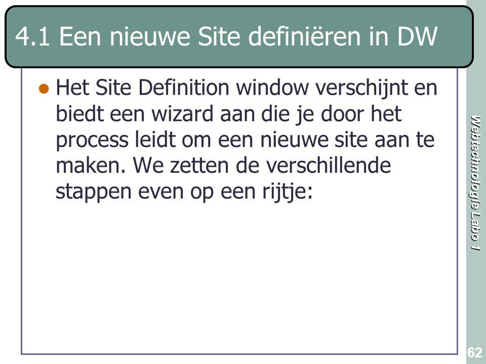 Webtechnologie Labo 1 62 Het Site Definition window verschijnt en biedt een wizard aan die je door het process leidt om een nieuwe site aan te maken.