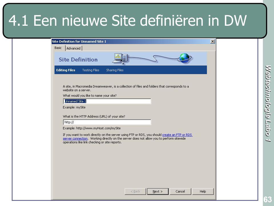 Webtechnologie Labo 1 63 4.1 Een nieuwe Site definiëren in DW