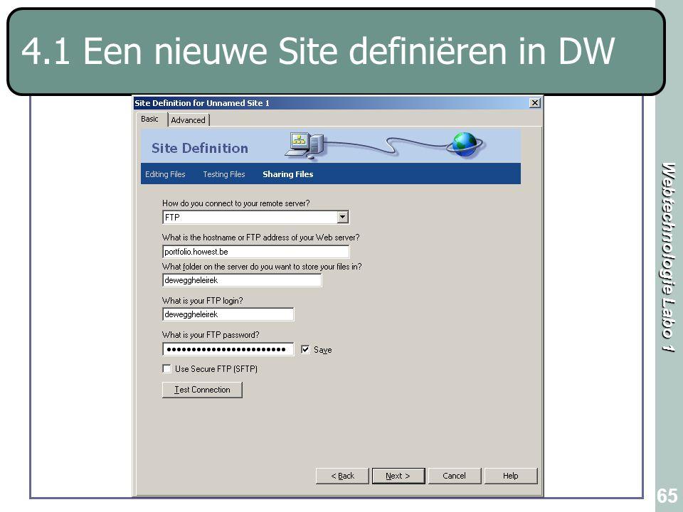 Webtechnologie Labo 1 65 4.1 Een nieuwe Site definiëren in DW