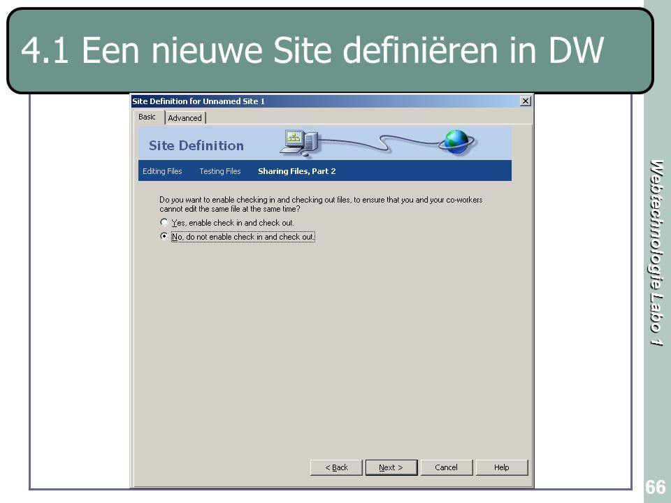Webtechnologie Labo 1 66 4.1 Een nieuwe Site definiëren in DW