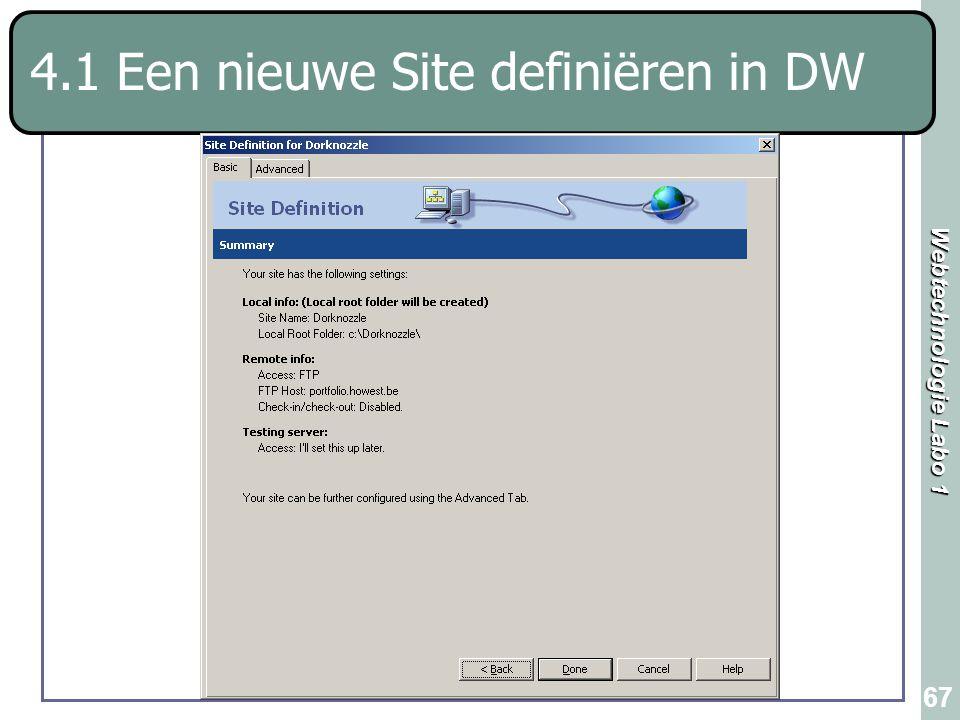 Webtechnologie Labo 1 67 4.1 Een nieuwe Site definiëren in DW