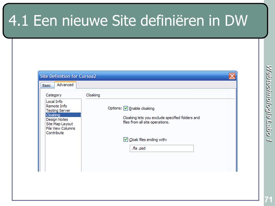 Webtechnologie Labo 1 71 4.1 Een nieuwe Site definiëren in DW