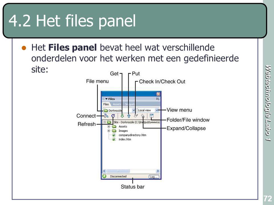 Webtechnologie Labo 1 72 4.2 Het files panel Het Files panel bevat heel wat verschillende onderdelen voor het werken met een gedefinieerde site: