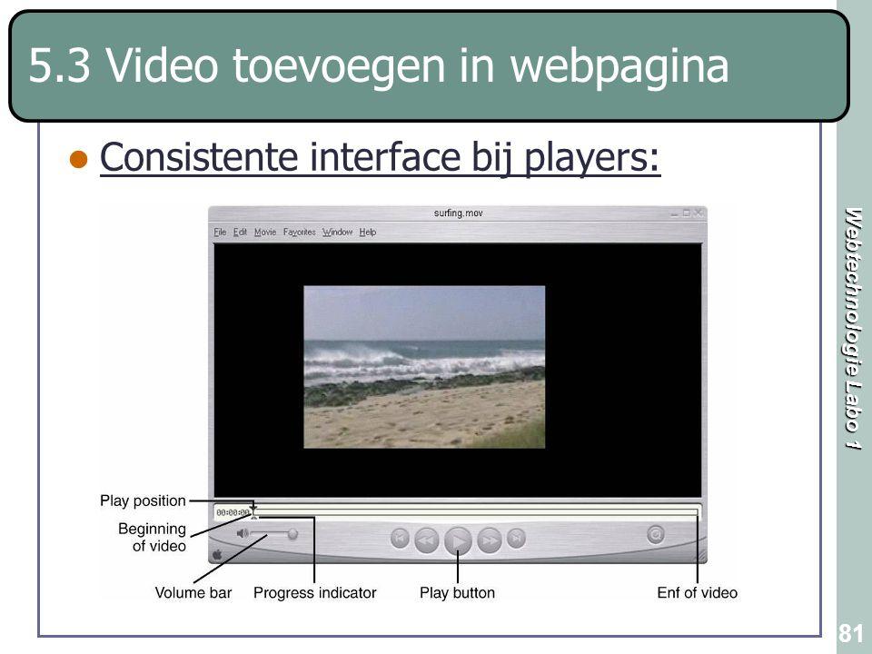 Webtechnologie Labo 1 81 5.3 Video toevoegen in webpagina Consistente interface bij players: