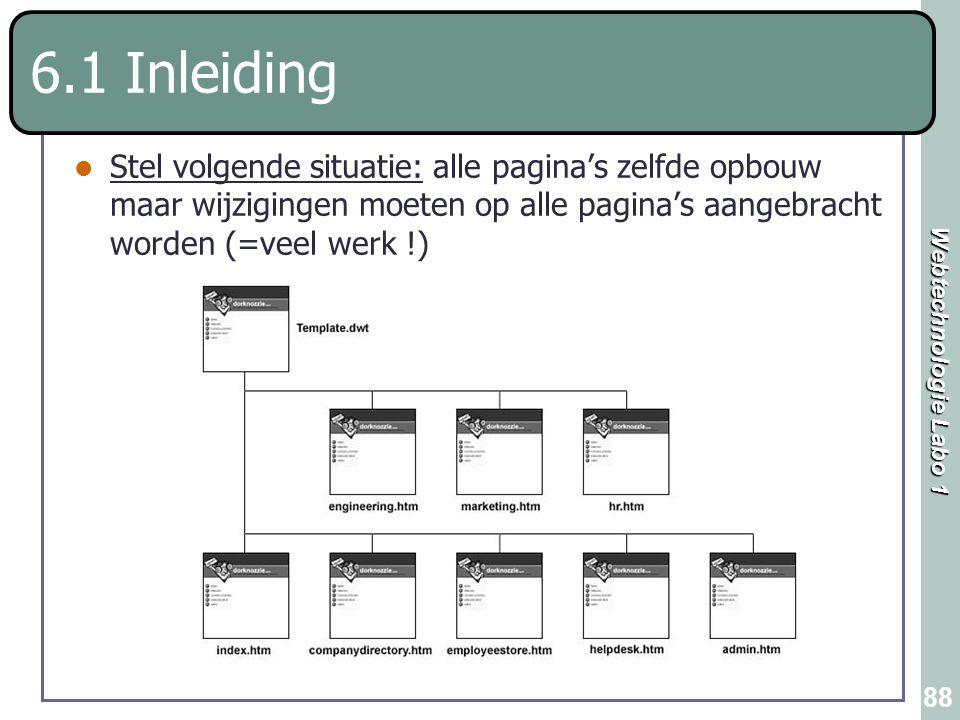 Webtechnologie Labo 1 88 6.1 Inleiding Stel volgende situatie: alle pagina's zelfde opbouw maar wijzigingen moeten op alle pagina's aangebracht worden
