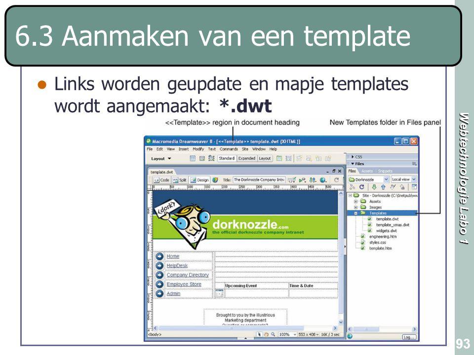 Webtechnologie Labo 1 93 6.3 Aanmaken van een template Links worden geupdate en mapje templates wordt aangemaakt: *.dwt