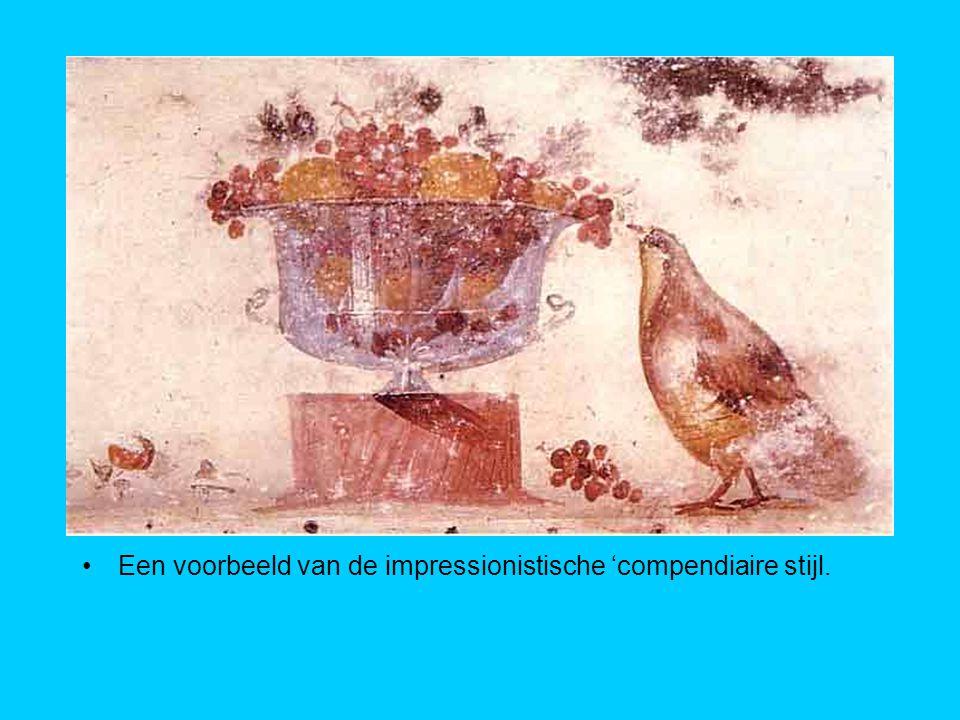 Een voorbeeld van de impressionistische 'compendiaire stijl.