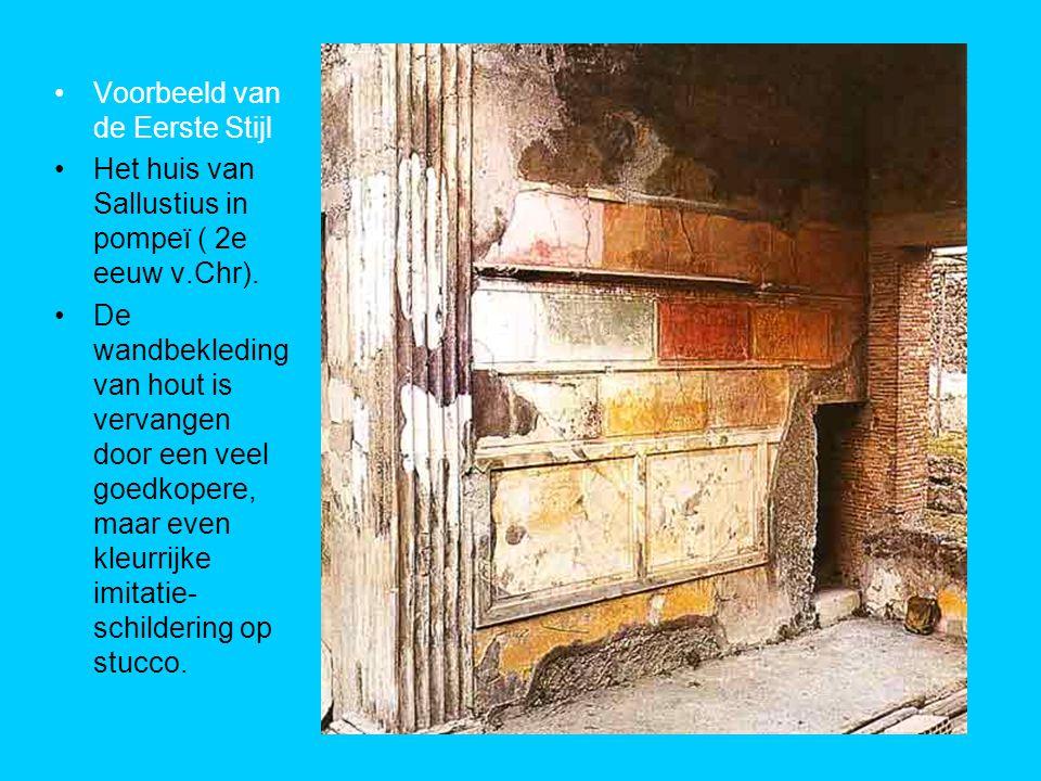 Voorbeeld van de Eerste Stijl Het huis van Sallustius in pompeï ( 2e eeuw v.Chr).