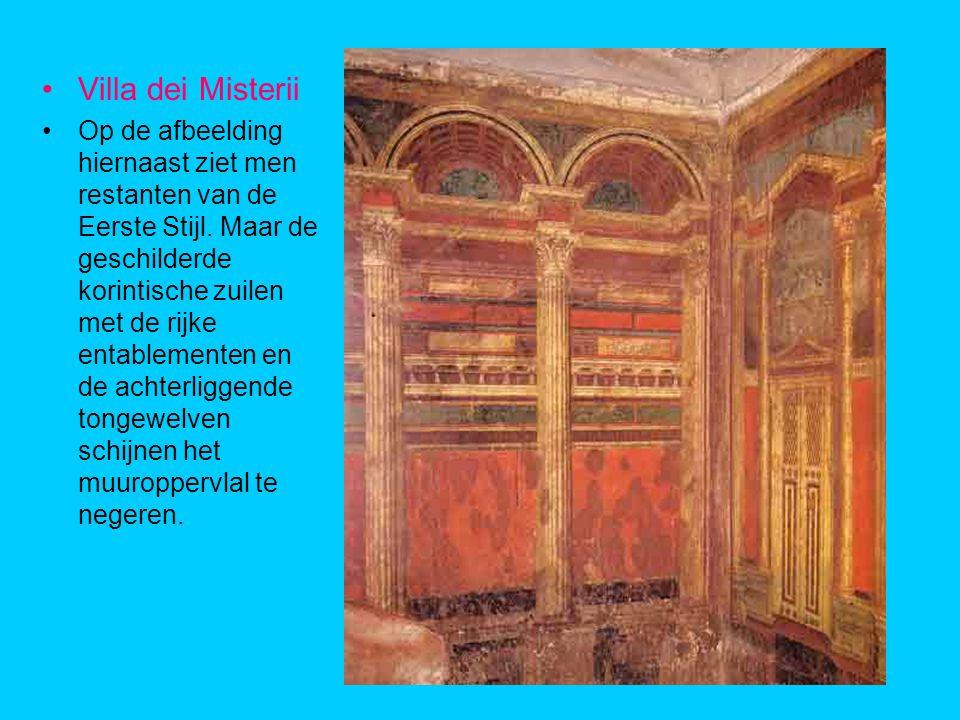 Villa dei Misterii Op de afbeelding hiernaast ziet men restanten van de Eerste Stijl.