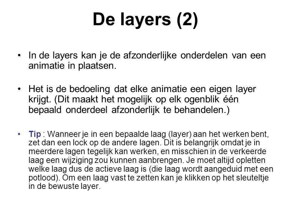 De layers (2) In de layers kan je de afzonderlijke onderdelen van een animatie in plaatsen. Het is de bedoeling dat elke animatie een eigen layer krij