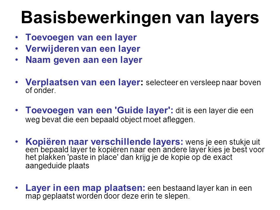 Basisbewerkingen van layers Toevoegen van een layer Verwijderen van een layer Naam geven aan een layer Verplaatsen van een layer: selecteer en verslee