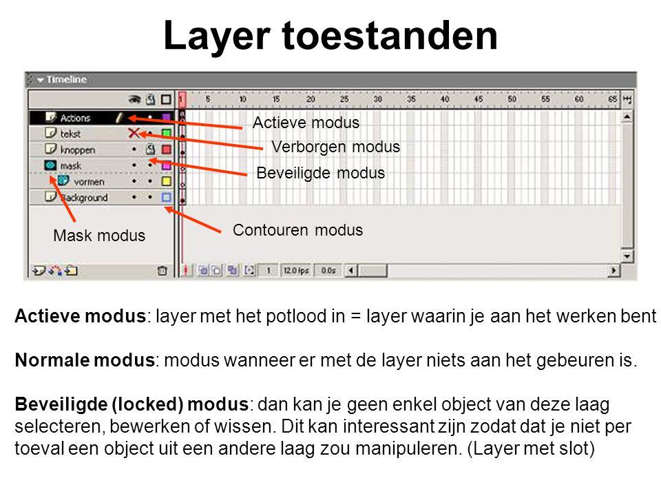 Layer toestanden Actieve modus: layer met het potlood in = layer waarin je aan het werken bent Normale modus: modus wanneer er met de layer niets aan