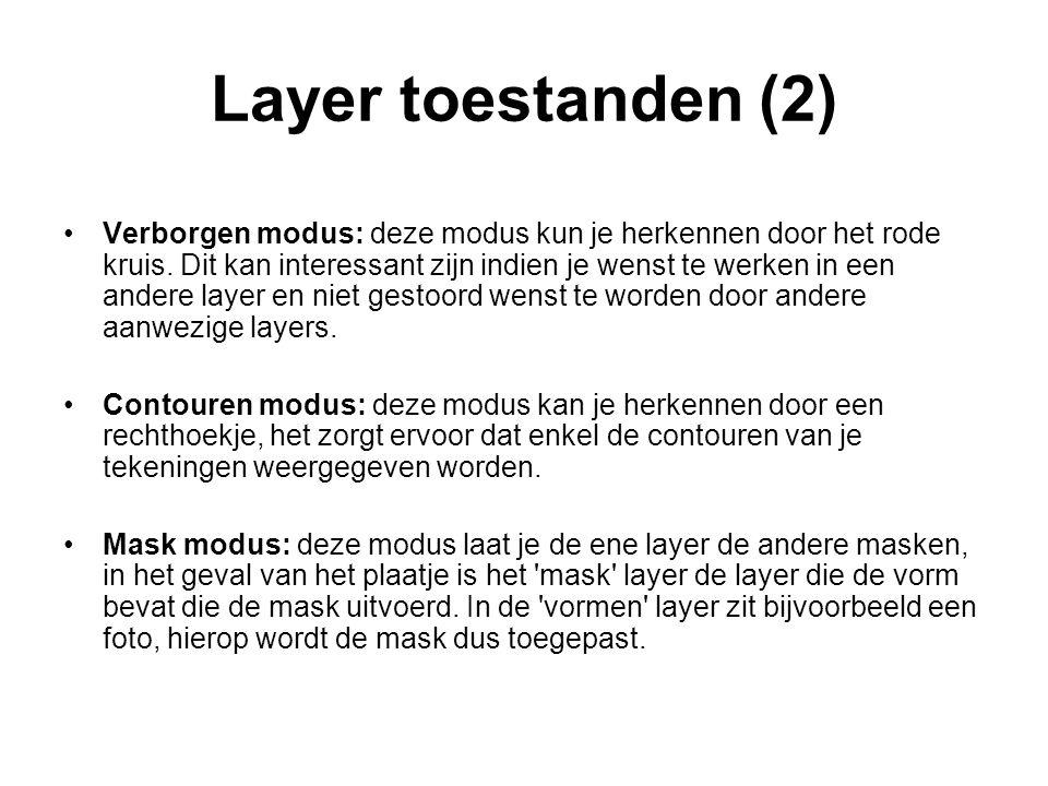 Layer toestanden (2) Verborgen modus: deze modus kun je herkennen door het rode kruis. Dit kan interessant zijn indien je wenst te werken in een ander