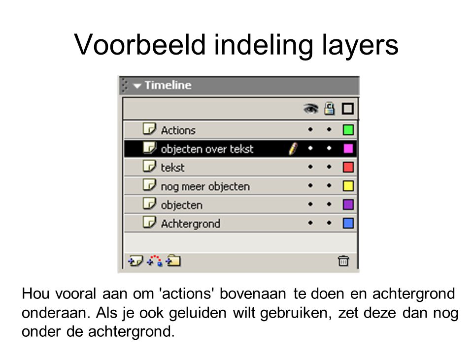 Voorbeeld indeling layers Hou vooral aan om 'actions' bovenaan te doen en achtergrond onderaan. Als je ook geluiden wilt gebruiken, zet deze dan nog o