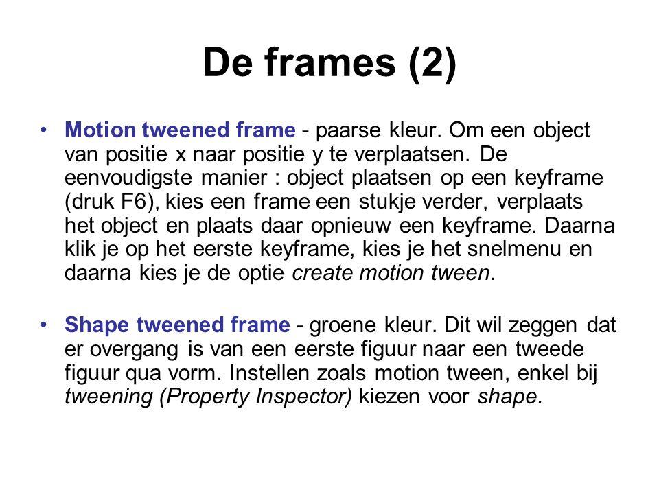 De frames (2) Motion tweened frame - paarse kleur. Om een object van positie x naar positie y te verplaatsen. De eenvoudigste manier : object plaatsen