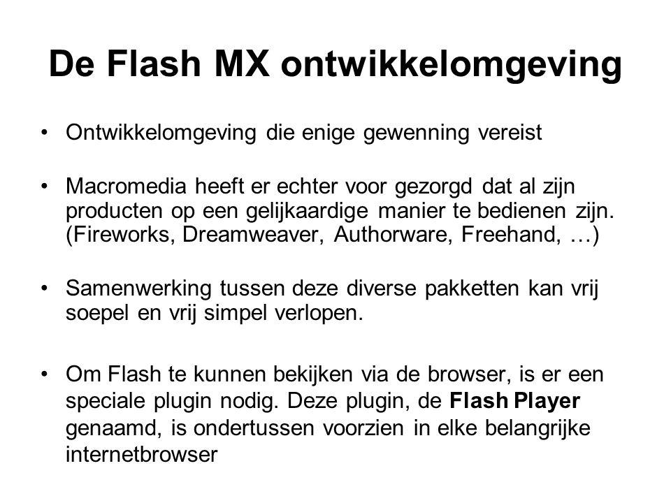 De Flash MX ontwikkelomgeving Ontwikkelomgeving die enige gewenning vereist Macromedia heeft er echter voor gezorgd dat al zijn producten op een gelij
