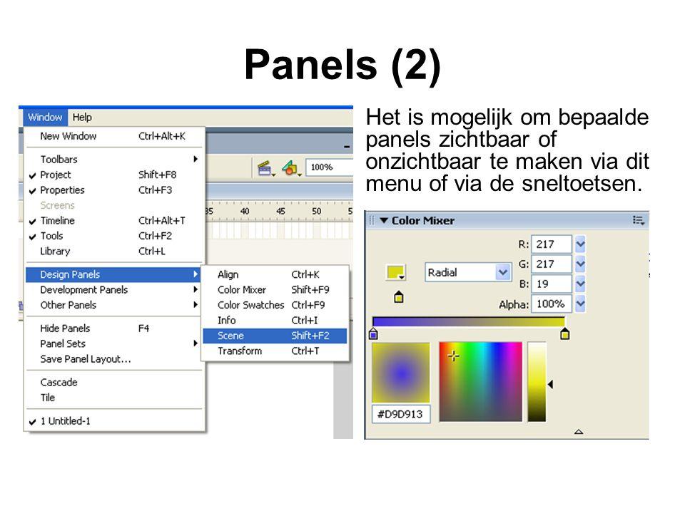 Panels (2) Het is mogelijk om bepaalde panels zichtbaar of onzichtbaar te maken via dit menu of via de sneltoetsen.