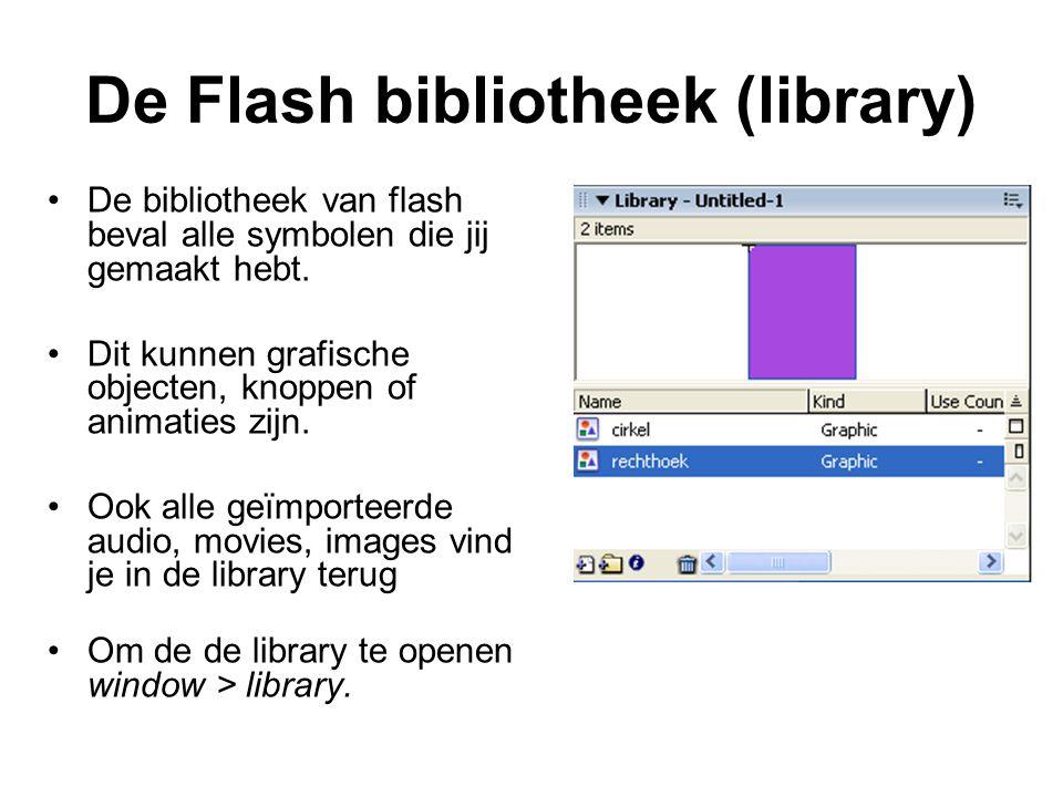 De Flash bibliotheek (library) De bibliotheek van flash beval alle symbolen die jij gemaakt hebt. Dit kunnen grafische objecten, knoppen of animaties