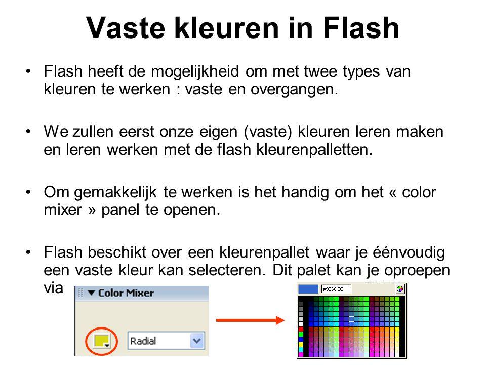 Vaste kleuren in Flash Flash heeft de mogelijkheid om met twee types van kleuren te werken : vaste en overgangen. We zullen eerst onze eigen (vaste) k