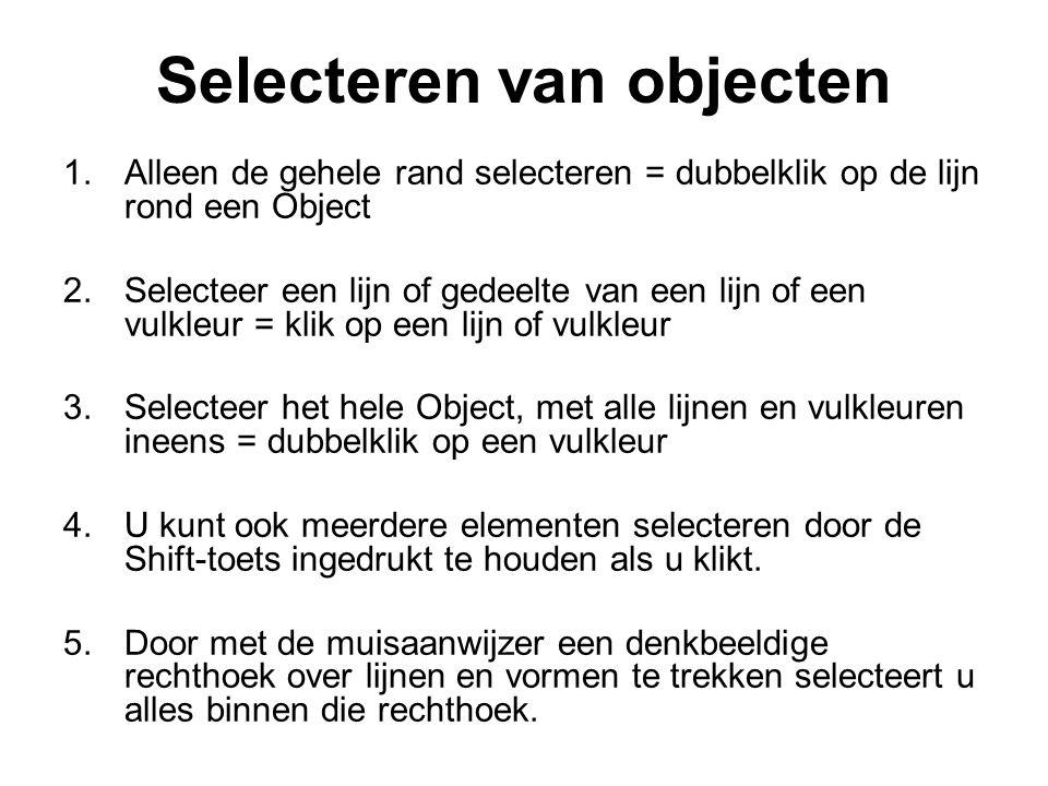 Selecteren van objecten 1.Alleen de gehele rand selecteren = dubbelklik op de lijn rond een Object 2.Selecteer een lijn of gedeelte van een lijn of ee