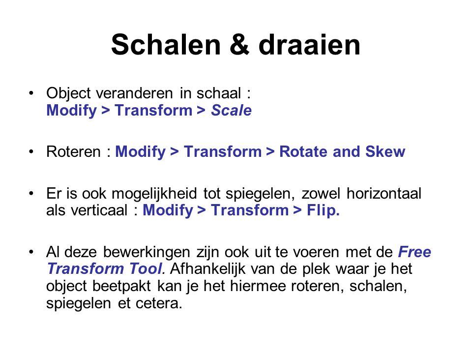 Schalen & draaien Object veranderen in schaal : Modify > Transform > Scale Roteren : Modify > Transform > Rotate and Skew Er is ook mogelijkheid tot s
