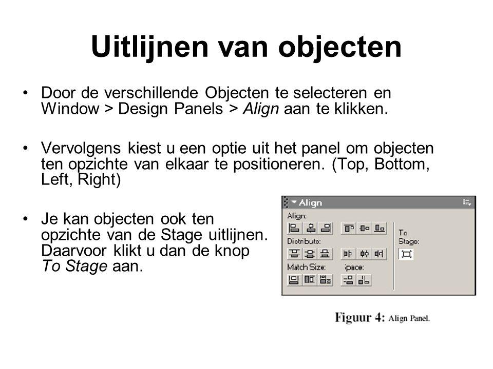 Uitlijnen van objecten Door de verschillende Objecten te selecteren en Window > Design Panels > Align aan te klikken. Vervolgens kiest u een optie uit