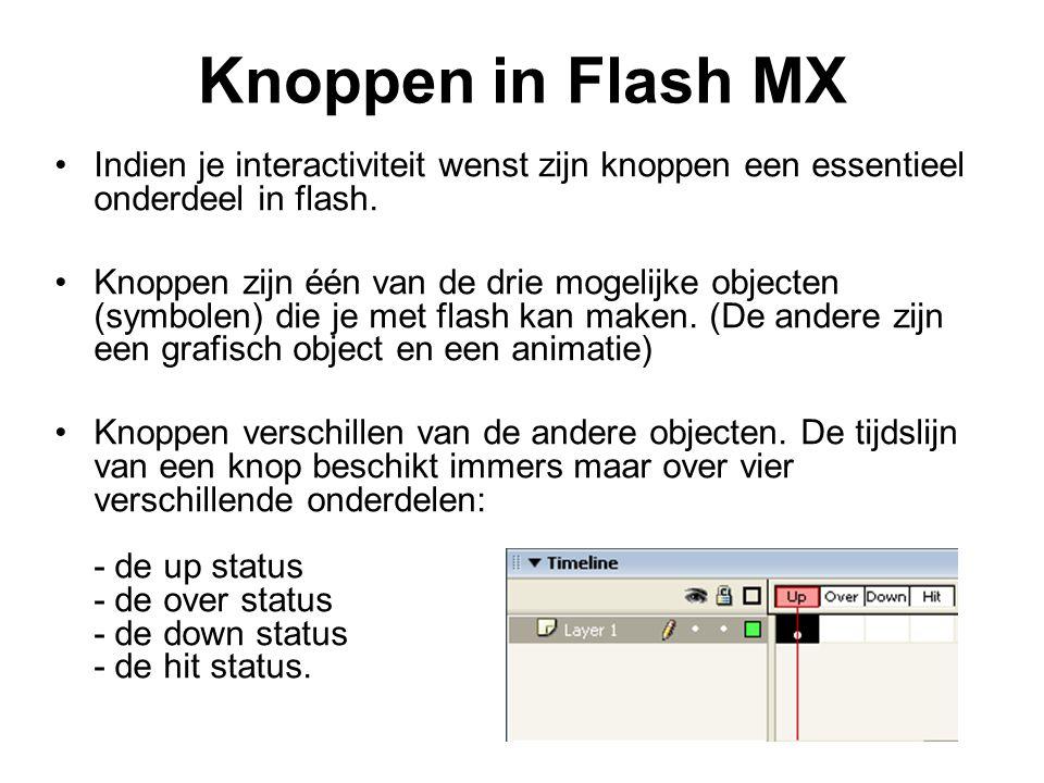 Knoppen in Flash MX Indien je interactiviteit wenst zijn knoppen een essentieel onderdeel in flash. Knoppen zijn één van de drie mogelijke objecten (s